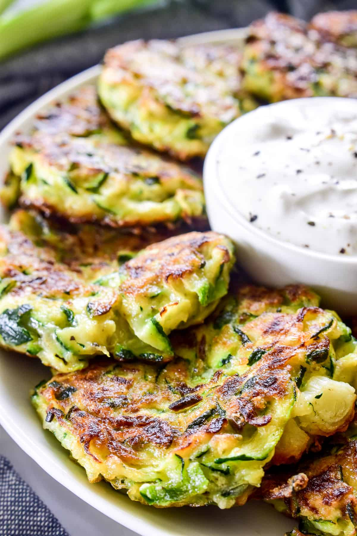 Close up of Zucchini Fritters on a serving plate
