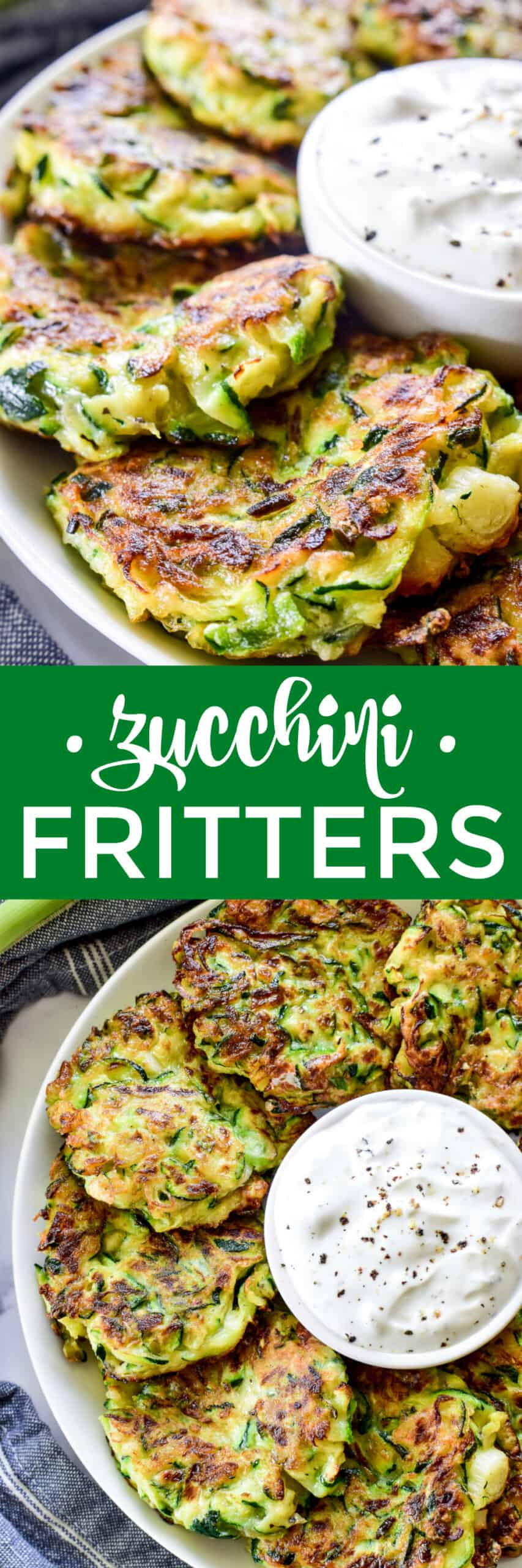 Collage image of Zucchini Fritters