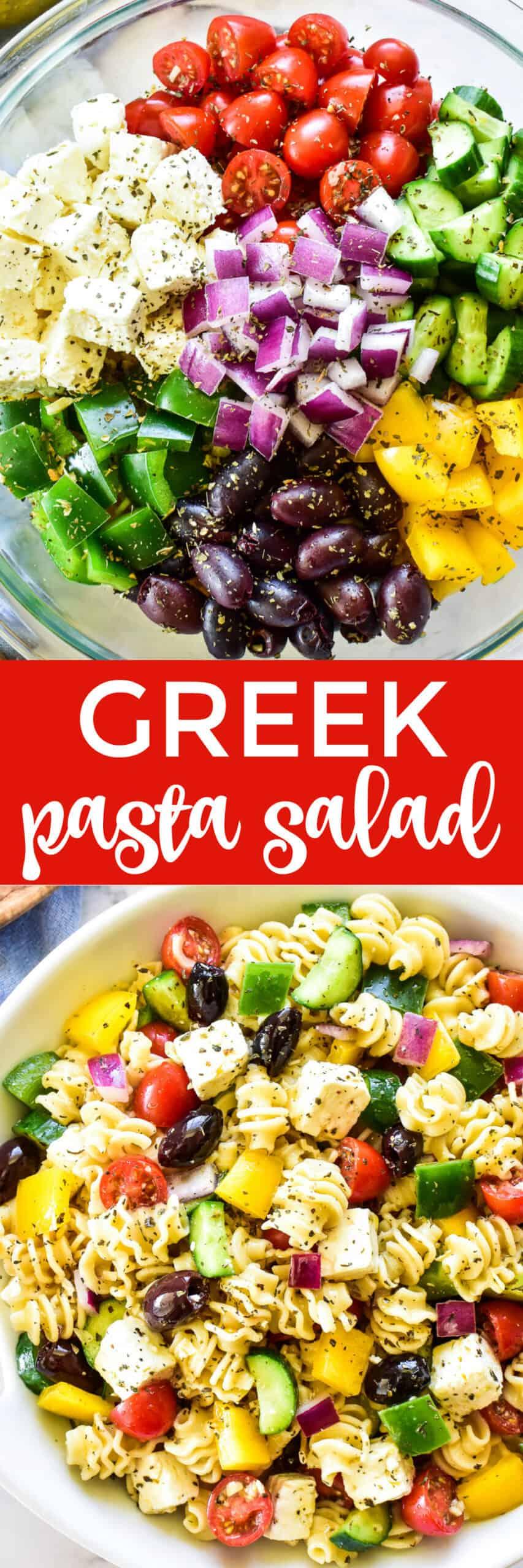 Collage image of Greek pasta Salad